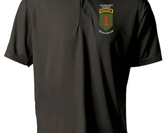1st Infantry Division w/ Ranger Tab Embroidered Moisture Wick Polo Shirt -3174