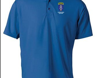 8th Infantry Division w/ Ranger Tab Embroidered Moisture Wick Polo Shirt -4126