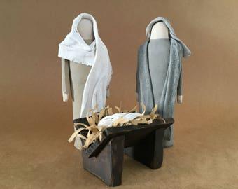 Handmade Christmas Nativity Set, Manger, Mary and Joseph