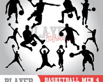 Basketball men SVG, basketball player svg, basketball digital clipart, athlete silhouette, basketball men sport, cut file, design, A-012