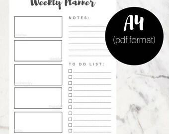 2018 Weekly Planner, minimalist weekly planner, 2018 planner printable, Bullet Journal, 2018 Planner, print, digital print
