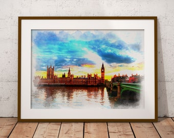 London Westminster Bridge Wall Decor, Thames Big Ben London Poster Wall Art, London Watercolor Print
