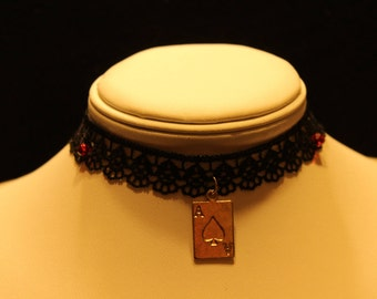 Lace choker with ace of spades pendant