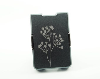 Custom Minimal Wallet / Card Holder Grey, Flower Engraving, Personalised, Aluminium