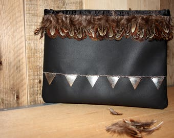 boho clutch, tribal clutch, gypsy clutch, boho, bag, vintage bag, ethno bag, leather bag
