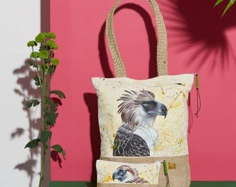 Eagle Handpainted Summer Tote Bag and Pouch Set | Handmade from the Philippines
