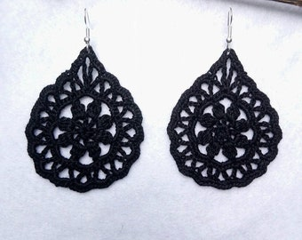 Black Teardrop Crochet Earrings