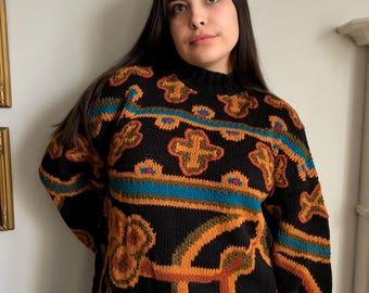 Chunky Vintage Mock Neck Patterned Sweater