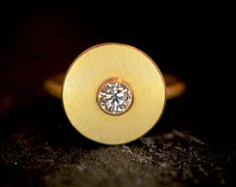 Ring of Gold 900 (22 carats) with diamond * engagement * wedding * love *