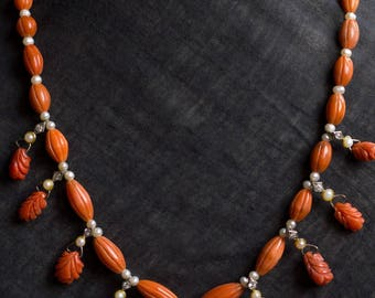 Coral and natural Pearl necklace with Ganesha pendant .