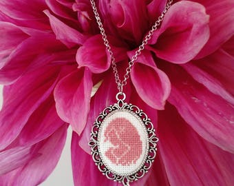 Cameo necklace with hand embroidered pendant with cross stitch
