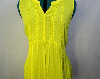 Bright yellow sleeveless top Plus