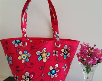 Mini red floral tote