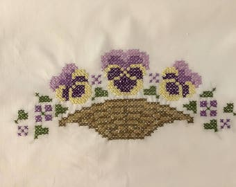 Hand Embroidered Dresser Scarf / Table Runner