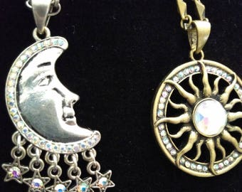 Sun and Moon Jeweled Friendship Necklaces
