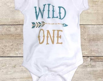 Wild One Teal and Gold design Arrow boho First Birthday Baby Bodysuit or Baby T-Shirt for Boy or Girl