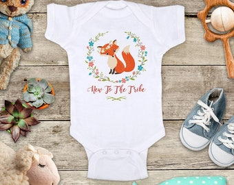New To The Tribe Fox with Flowers Baby bodysuit - cute birthday baby shower gift baby birth pregnancy announcement