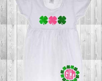Girls St. Patrick's Day monogrammed glitter clover dress