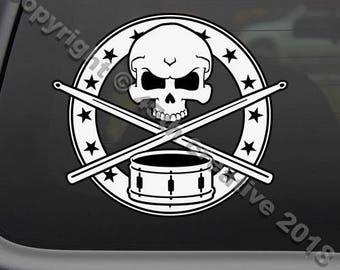 Drummers skull crossbones decal sticker, drumming decal sticker, percussionist skull decal sticker, drum and sticks skull decal sticker