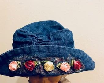 Embellished Denim Floppy Hat