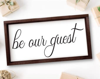 Be Our Guest Sign, Bedroom Decor, Guest Bedroom, Large Bedroom Wall Decor, Over The Bed Wall Sign, Above Bed, Wall Decor, Signs, Rustic