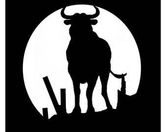 Bull black color hand cut metal decor