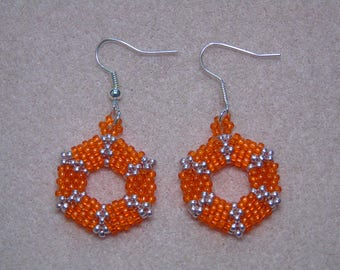 Seed Bead 3D Hexagon Earrings