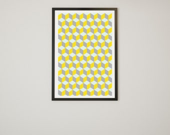 Gray and Yellow  Geometric Print - Instant Download