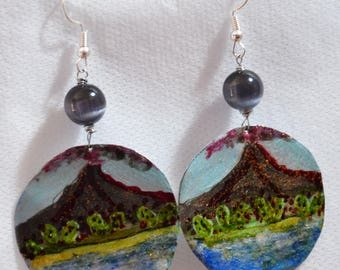 Women's earrings with landscape of Sicily Etna hand painted