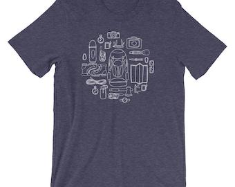 Essential Trekking Gears Checklist Unisex Short Sleeve T-Shirt  • Adventure Tee • Casual Shirt • Hiking Tee Shirt