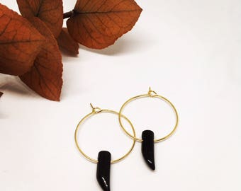 Black onyx gold plated hoops
