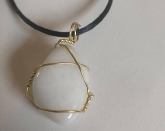 Wire-Wrapped White Quartz Necklace