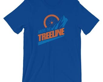 Bike Above The Treeline (Orange/Blue), An Outdoor Hiking and Mountain Biking T-shirt for the Adventurer