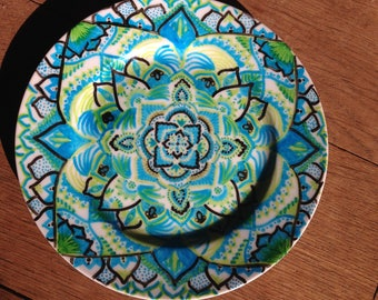 Hand painted plate, mandala, decoration, 21 cm diameter