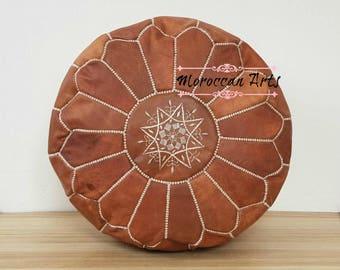 Moroccan Leather ottoman Pouf, pouf ottoman, 01