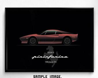 Gift for Ferrari lover, PRINTABLE poster, minimal art, classic sport cat, stylish decor, classy wallart, minimalism poster, italian, history