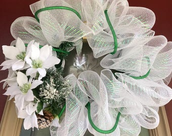 White Mesh Wreath with floral embellishment