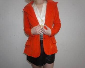 Red Orange Velvet Blazer by Joseph Magnin