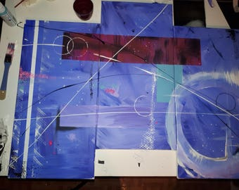 Abstract 3 panel painting.