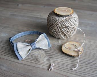 Bow Tie,Wedding Bow Tie,Best Men Gift,Groomsmen Bow Tie,Bowtie, Wedding Accessories,Rustic Wedding,Best Man Gift, Grey Denim,Rustic Linen