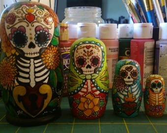 Handpainted Dia de Los Muertos day of the dead nesting dolls