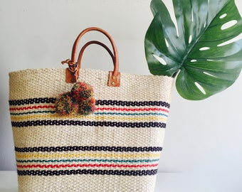 Large Multicolored Rattan Bag