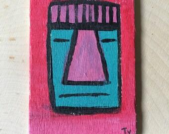Sleepy Tiki - Miniature Acrylic Painting and Magnet