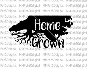 NC Home Grown SVG, NC state vector, North Carolina cut file, for silhouette, for cricut