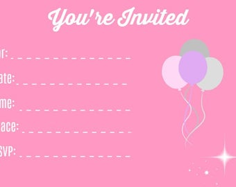 Pink Blank Party Invitation  **INSTANT DOWNLOAD**