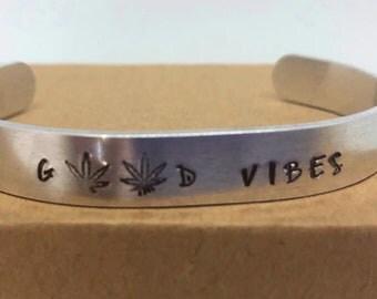 Good Vibes Cuffed Bracelet, Pot Leaf
