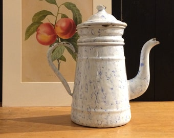 Original French enamelware coffee pot, white and blue marble effect enamel