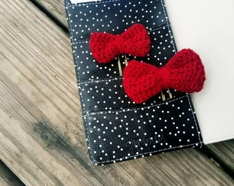 Ruby | Crochet Bow Planner Clips and Planner Accessories
