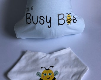 I'm a Busy Bee all in one and bandana bib