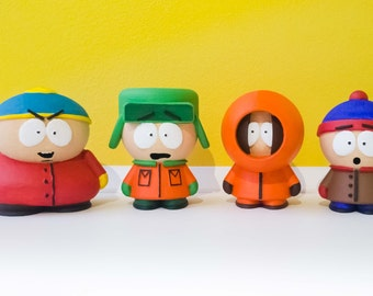 South Park figurine, South Park 3D figure, Kenneth McCormick, Kenny, Stanley Marsh, Stan, Kyel Broflovski, Eric Theodore Cartman, Printed 3D